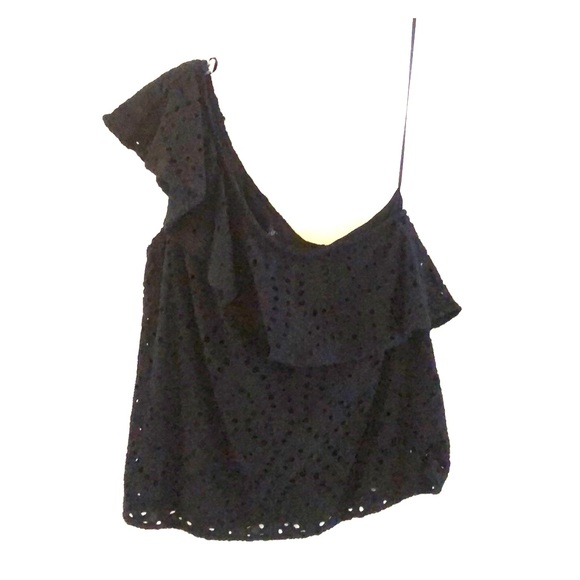 Design 365 Tops - Black One Shoulder Eyelet Swing Top Design 365 NWT